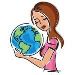 Kobieta przytulająca glob ziemski
