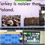 """Zrzut ekranu z połączenia w ZOOMie, widoczne jest zdanie"""" Turkey is noisier than Poland."""""""